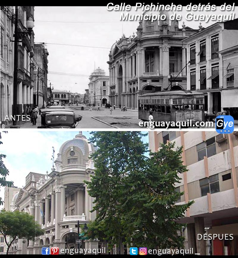 Calle Pichincha antes y despues