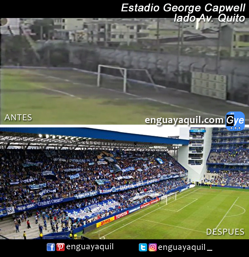Estadio Capwell antes y despues