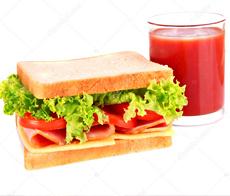 Sanduche con Jugo de frutas