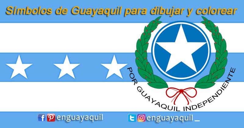 Bandera y Escudo de Guayaquil para dibujar y colorear
