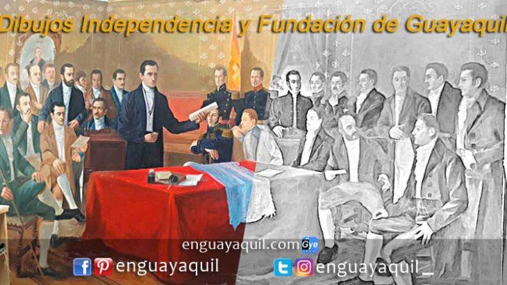 Dibujos independencia fundación de Guayaquil