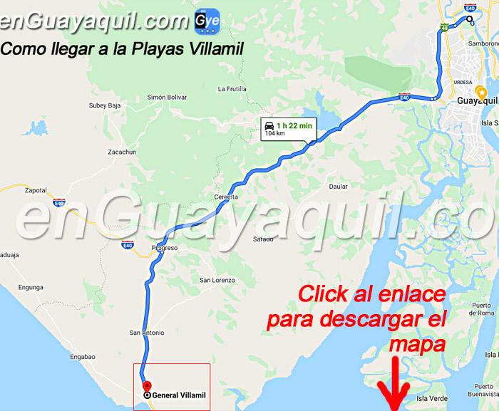 Como llegar a VIllamil Playas desde Guayaquil