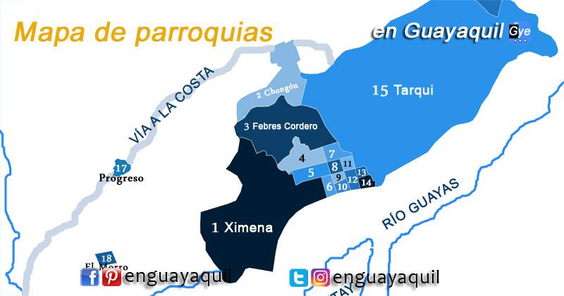Parroquias de Guayaquil mapa