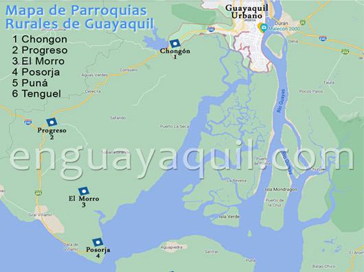 Mapa parroquias Rurales de Guayaquil