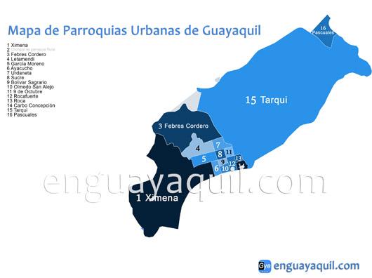 Parroquias Urbanas de Guayaquil mapa